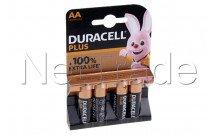 Duracell battery  alkaline  aa  / mn1500 / lr06 plus 100% extra life  blister 4 pcs - 12731
