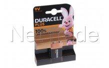 Duracell battery  alkaline  mn1604 - 6lr61 - 9v plus 100% extra life  blister 4 pcs - 12739