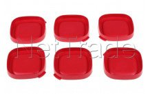 Seb - Red squared yoghurt lids - 6 pcs - SS1530000653