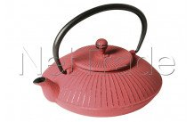 Crealys - Swan cast iron teapot 800 ml red mandarin - 507151