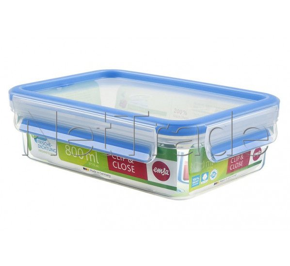Emsa - Clip & close food storage container rectangular with lid, 0.8 l - 508539