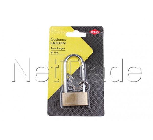 Cogex - Padlock brass high 40mm + 2 keys - 80637